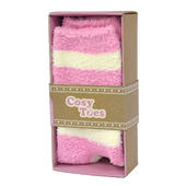 Cosy Toes Pink & White Stripe Ladies Fluffy Slipper Socks In Gift Box