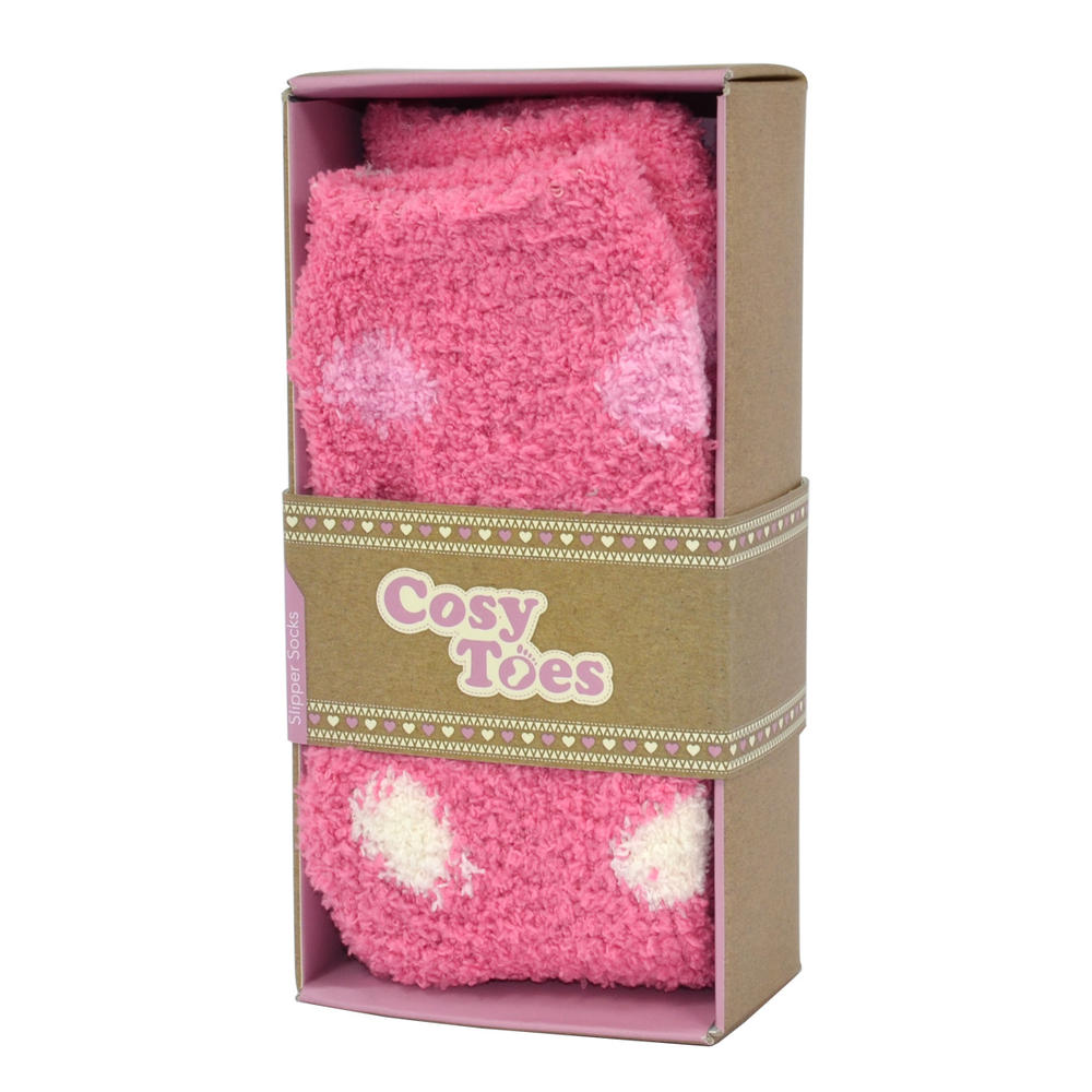 Cosy Toes Pink Multi Spot Ladies Fluffy Slipper Socks In Gift Box