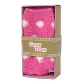 Cosy Toes Pink Spotty Ladies Fluffy Slipper Socks In Gift Box