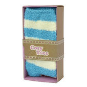 Cosy Toes Turquoise Stripe Unisex Slipper Socks In Gift Box