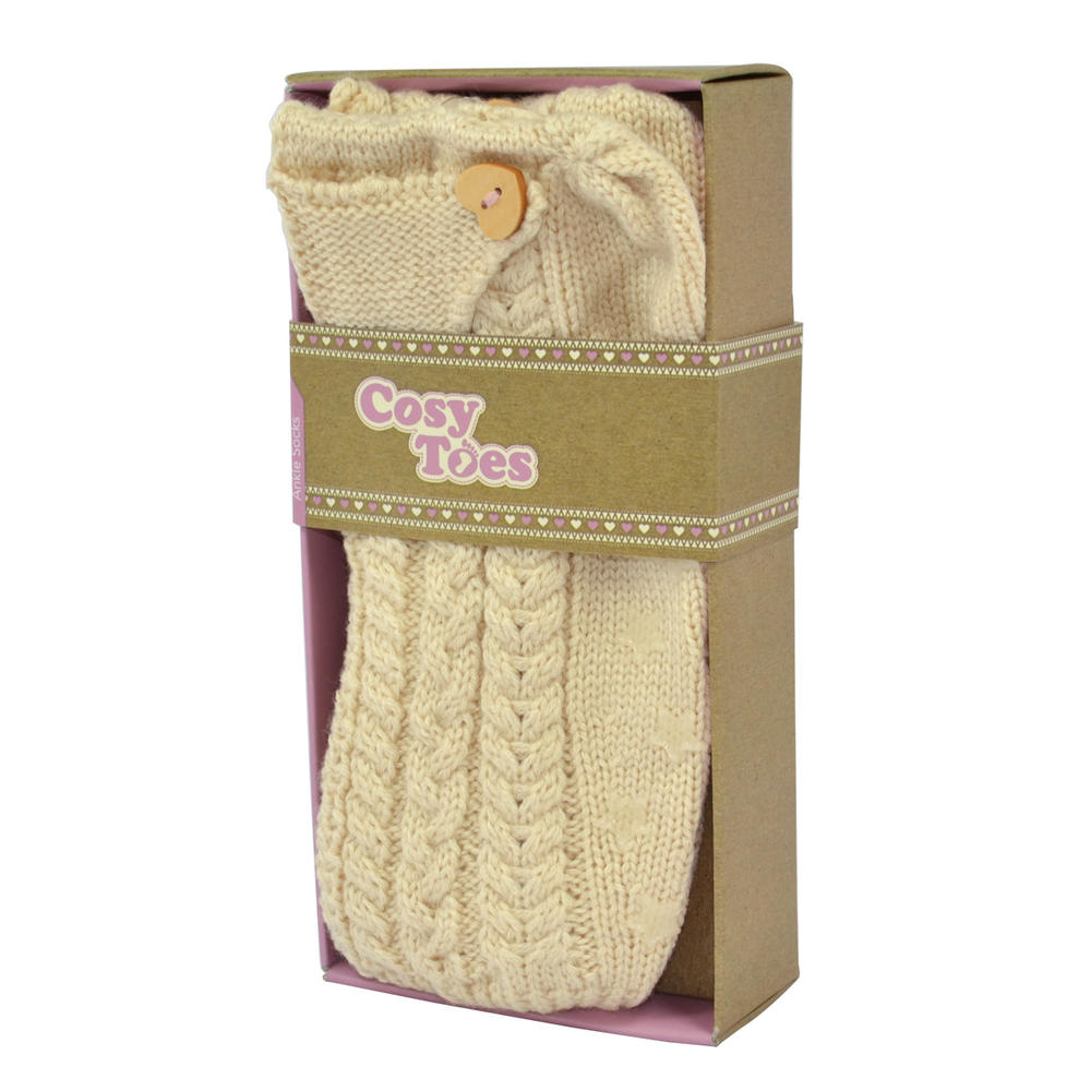 Cosy Toes Cream Knit Ladies Knitted Ankle Slipper Socks In Gift Box