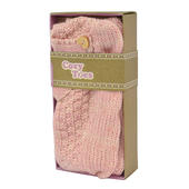 Cosy Toes Pink Knit Ladies Knitted Ankle Slipper Socks In Gift Box