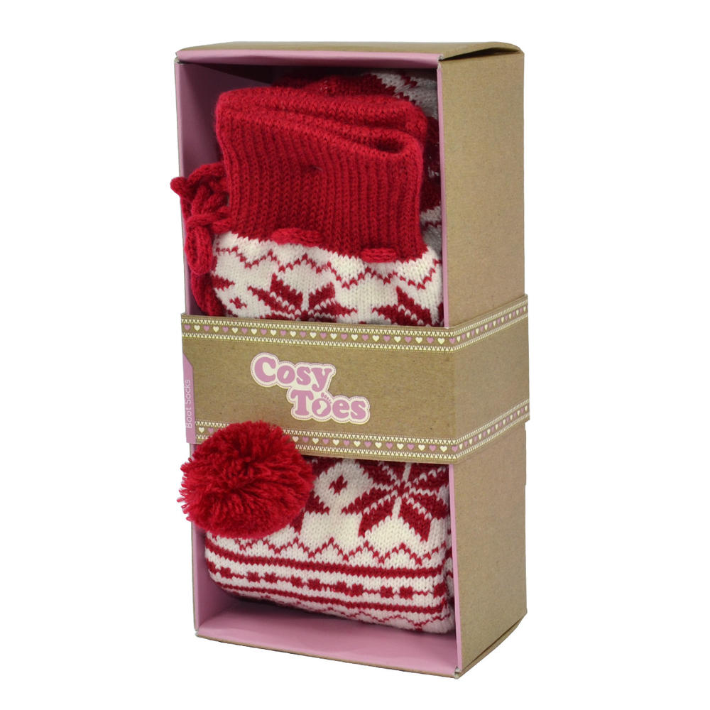 Cosy Toes Red & White Knit Ladies Jacquard Boot Socks In Gift Box