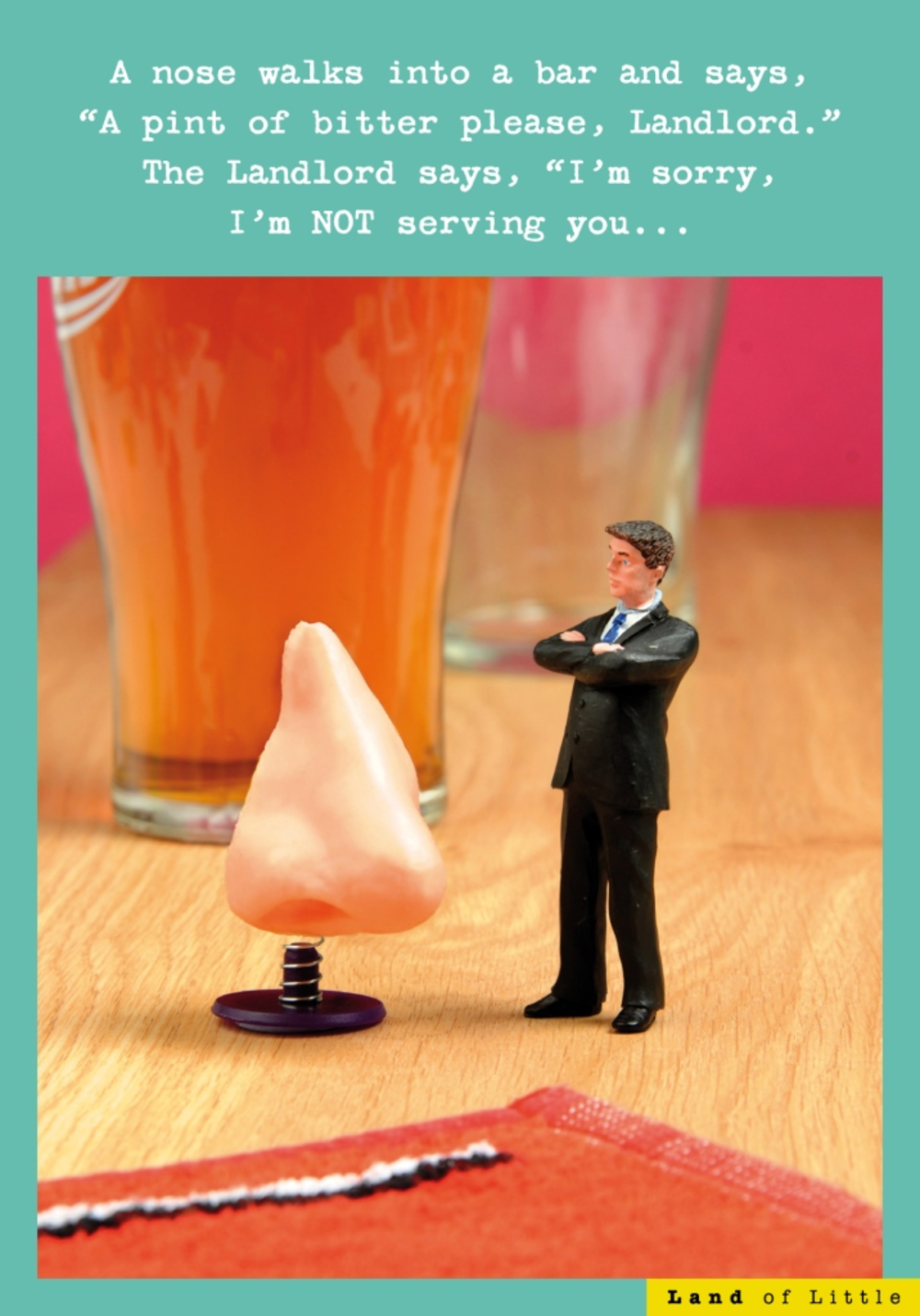 A Nose Walks Into A Bar Funny Birthday Card