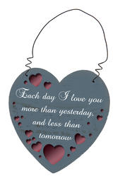 I Love You More Heart Hanging Plaque Gift