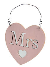 Mrs Heart Hanging Plaque Gift