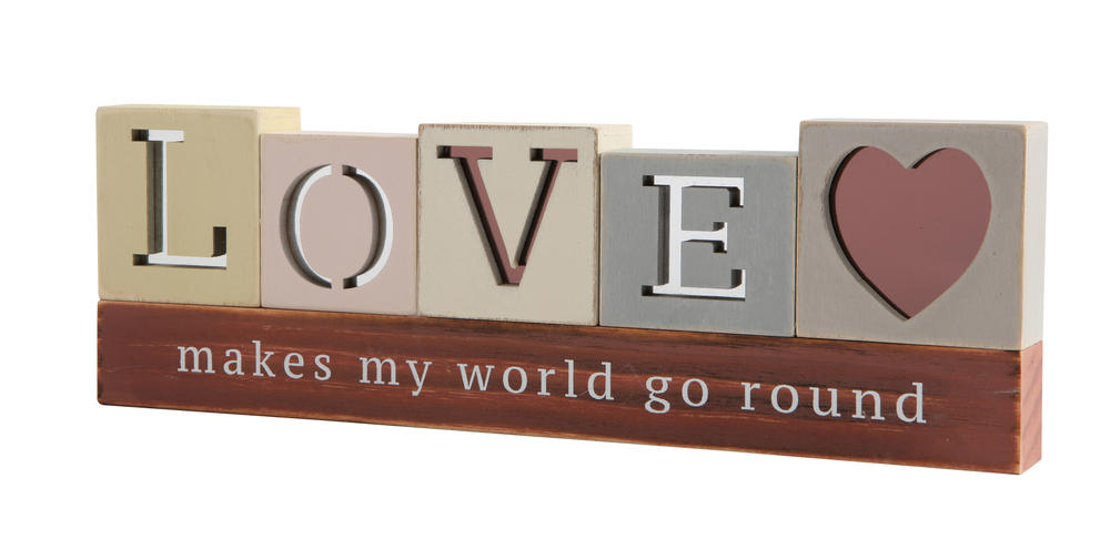 Love Makes World Go Round Wooden Standing Plaque Gift