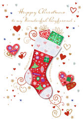 Wonderful Boyfriend Happy Christmas Greeting Card