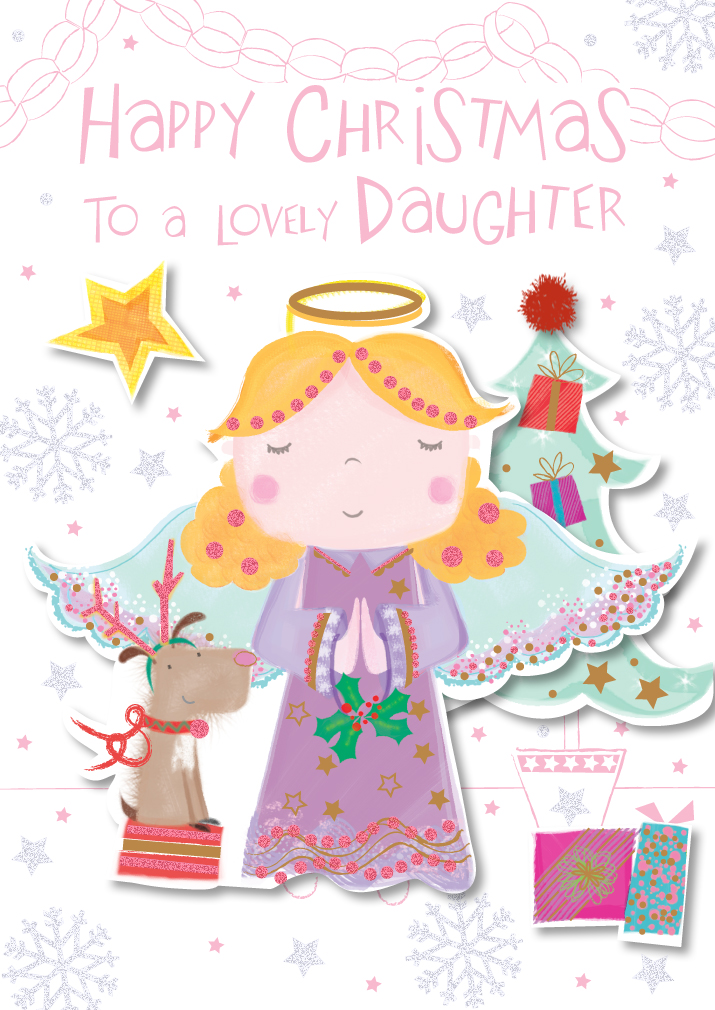 lovely daughter happy christmas greeting card