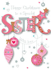 Special Sister Happy Christmas Greeting Card