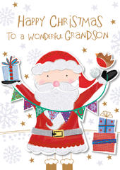 Wonderful Grandson Happy Christmas Greeting Card