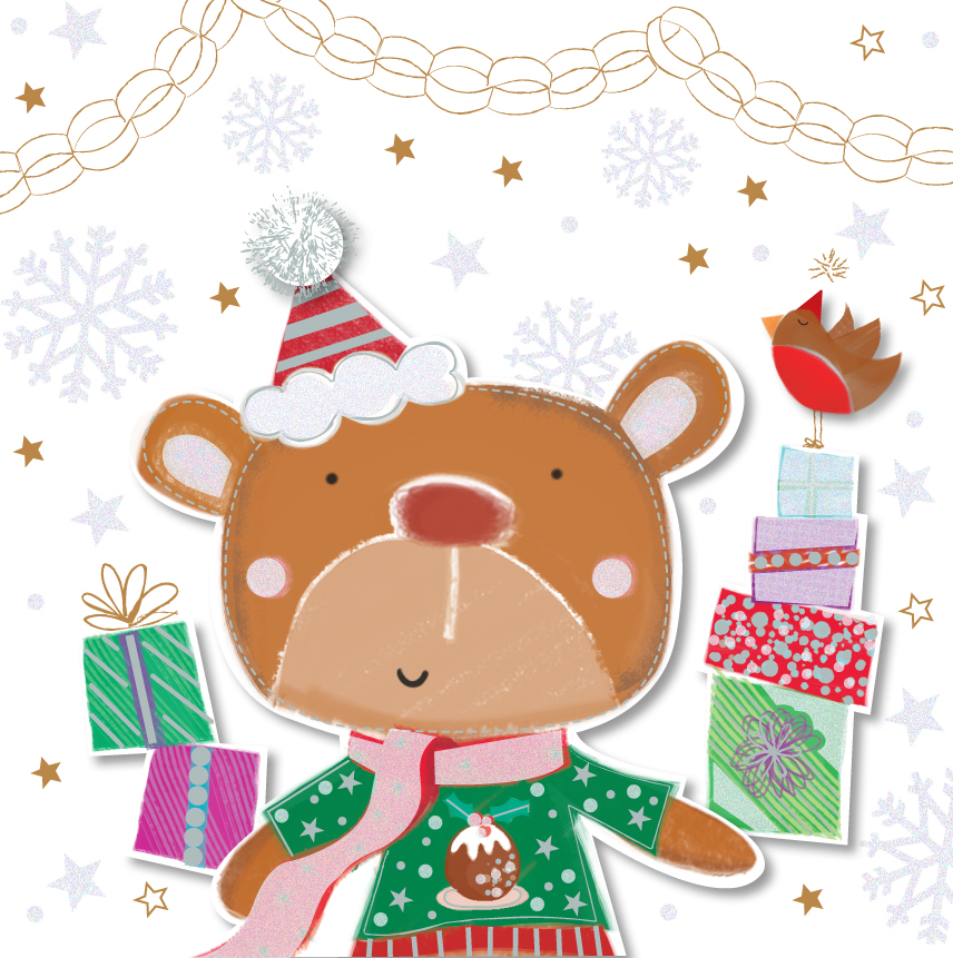 Christmas Wishes Bear.Christmas Wishes Cute Bear Greeting Card