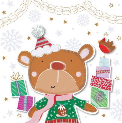 Christmas Wishes Cute Bear Greeting Card