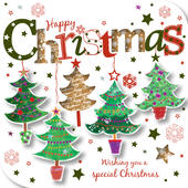 Happy Christmas Trees Greeting Card