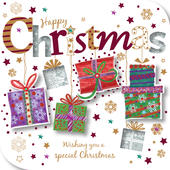 Happy Christmas Presents Greeting Card