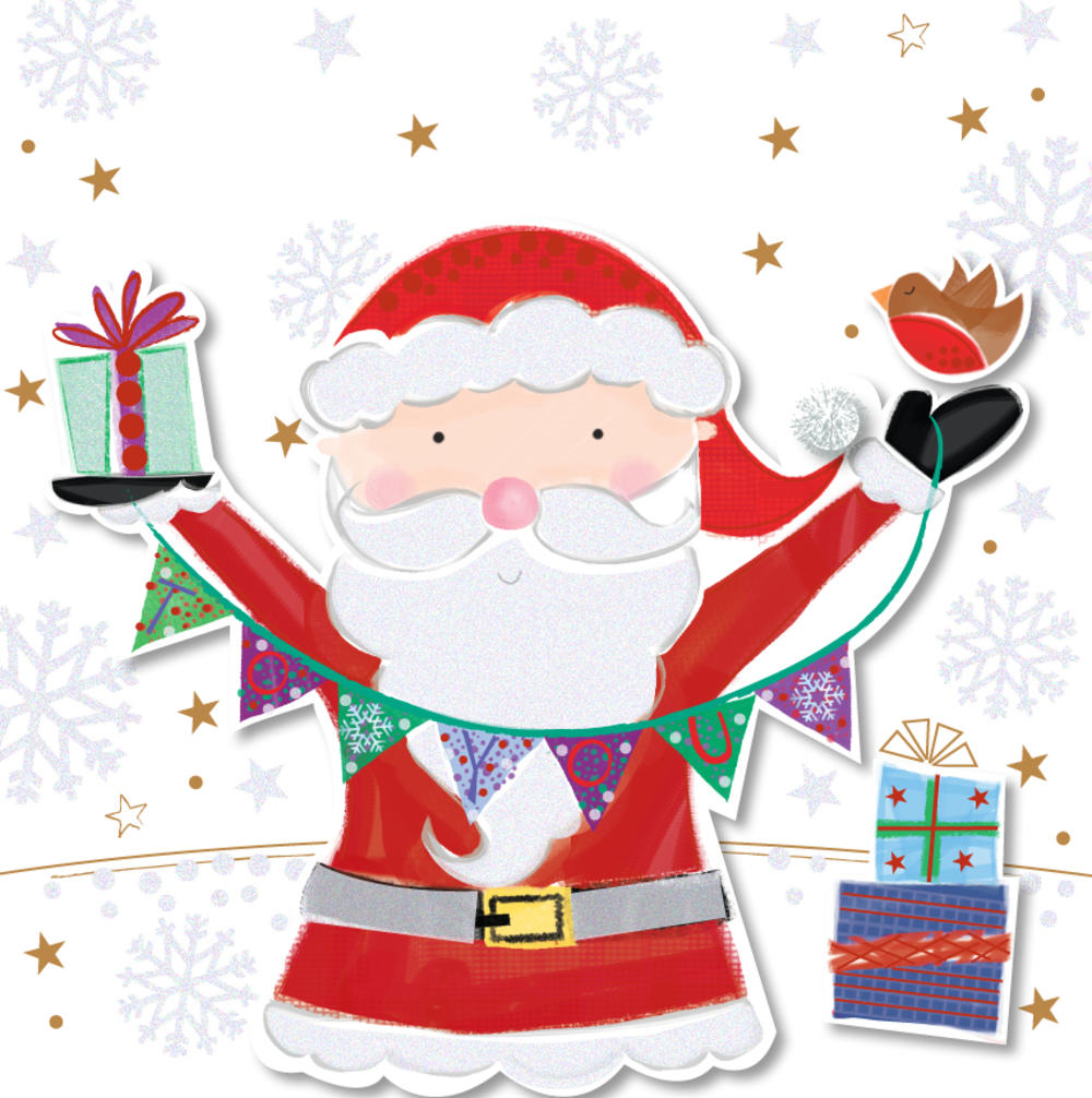 Cute Santa Happy Christmas Greeting Card
