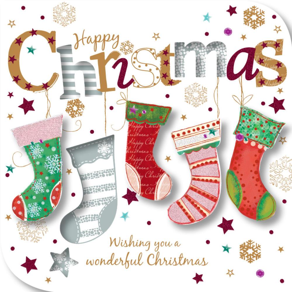 Happy Christmas Stockings Greeting Card