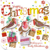 Happy Christmas Robins Greeting Card