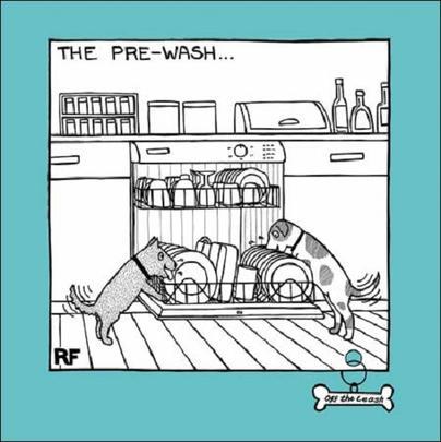 The Pre-Wash Cartoon Dog Humour Greeting Card