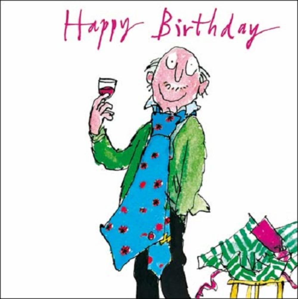 big tie happy birthday quentin blake greeting card cards