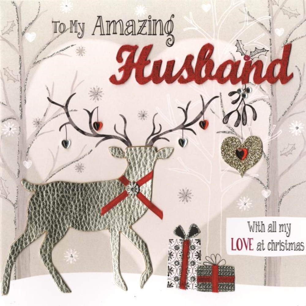 To My Amazing Husband Special Luxury Handmade Christmas Card