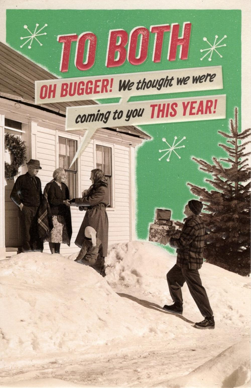 To Both Oh Bugger Retro Humour Christmas Greeting Card