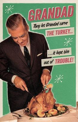 Grandad Carving Turkey Retro Humour Christmas Greeting Card