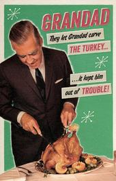 Grandad Carving Turkey Retro Humour Christmas Greeting Card