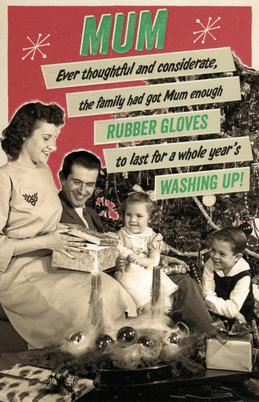 Mum Washing Up Retro Humour Christmas Greeting Card
