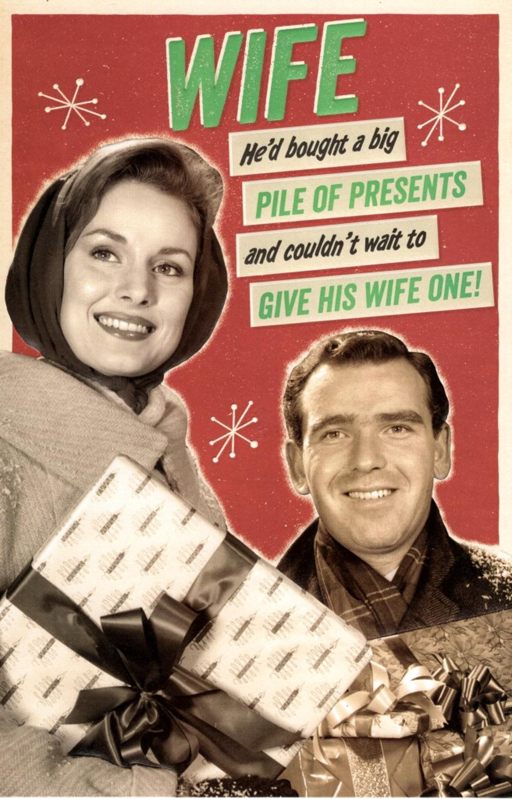 Wife Naughty Retro Humour Christmas Greeting Card Cards