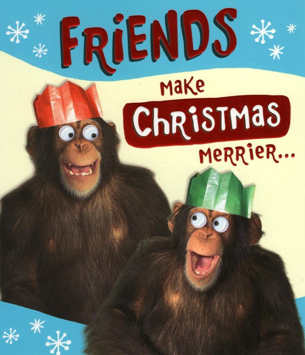 Friends Make Christmas Merrier Christmas Greeting Card