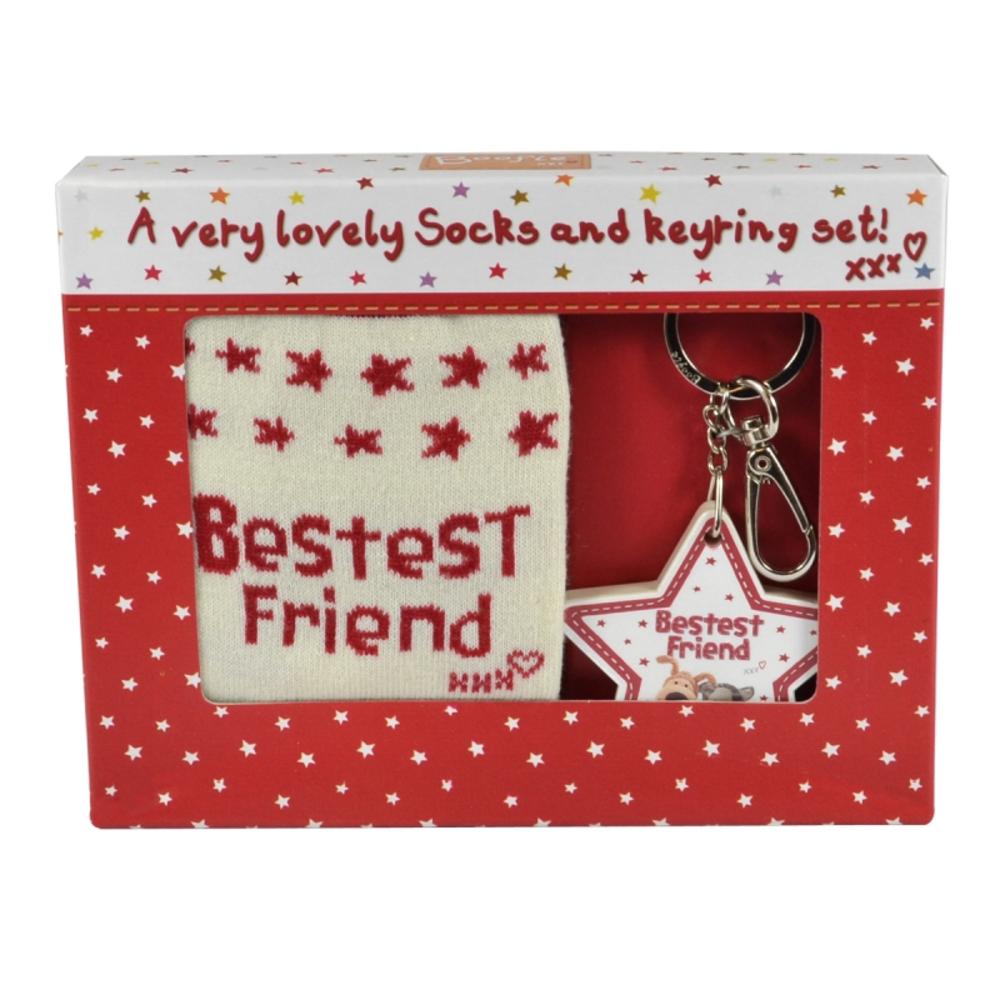 Boofle Bestest Friend Socks & Keyring Set In A Gift Box