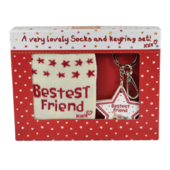 Boofle Bestest Friend Socks & Keyring Set In A Gift Box