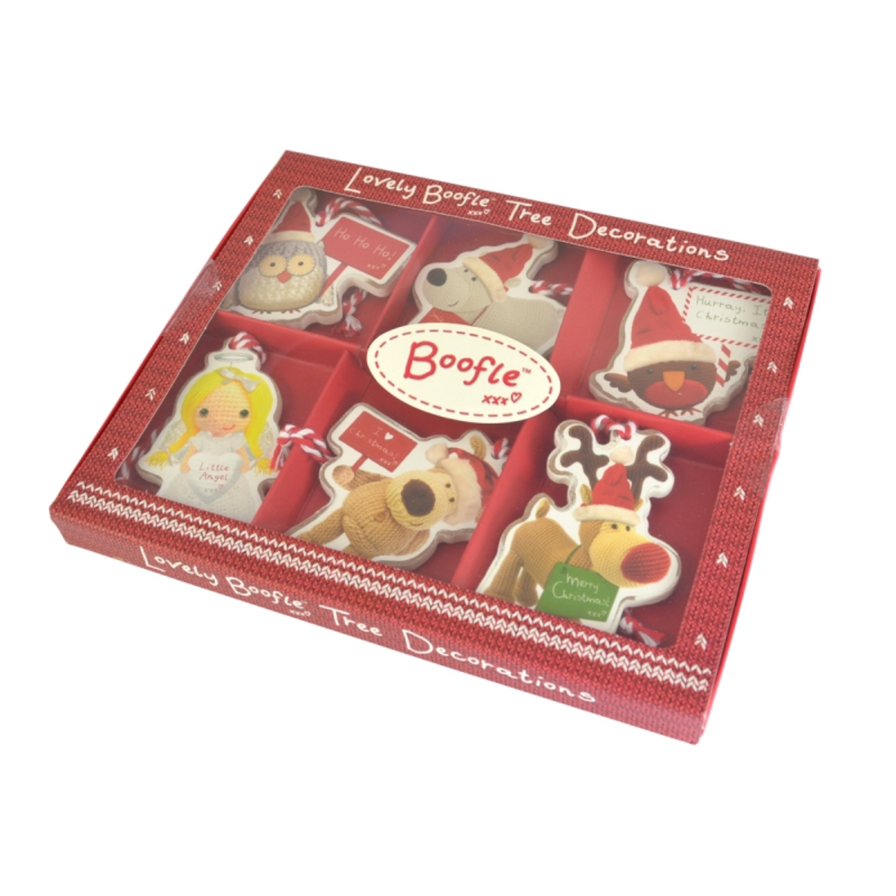 Boofle Pack of 6 Wooden Christmas Tree Decorations