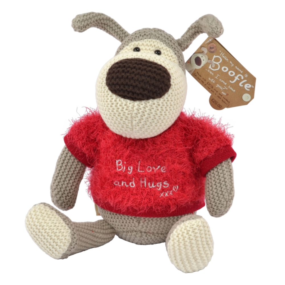 """Boofle Wearing Fluffy Red Jumper 8"""" Sitting Boofle Plush"""