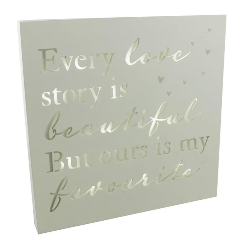 Every Love Story Is Beautiful Light Up Wall Plaque