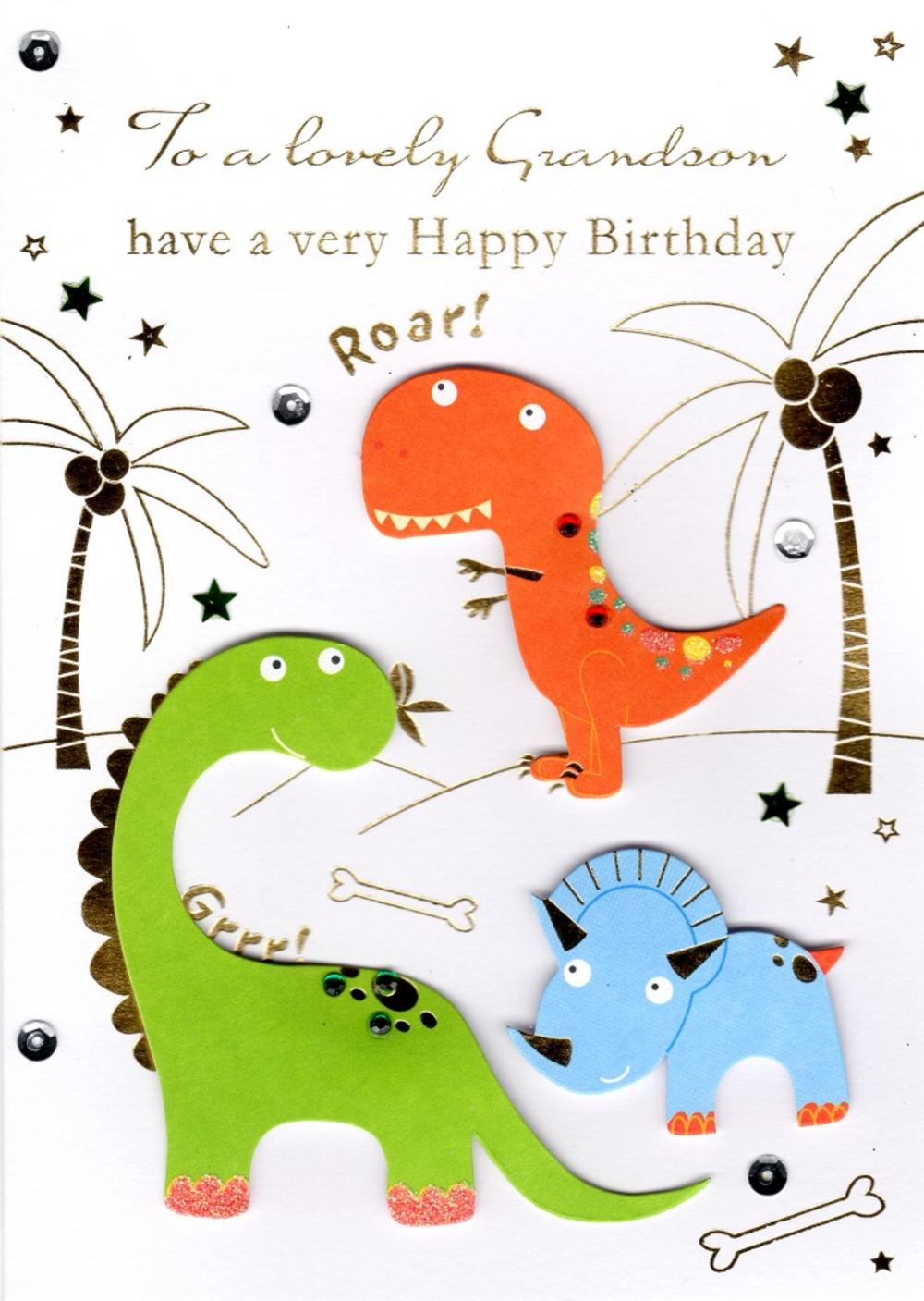 Lovely Grandson Handmade Birthday Greeting Card