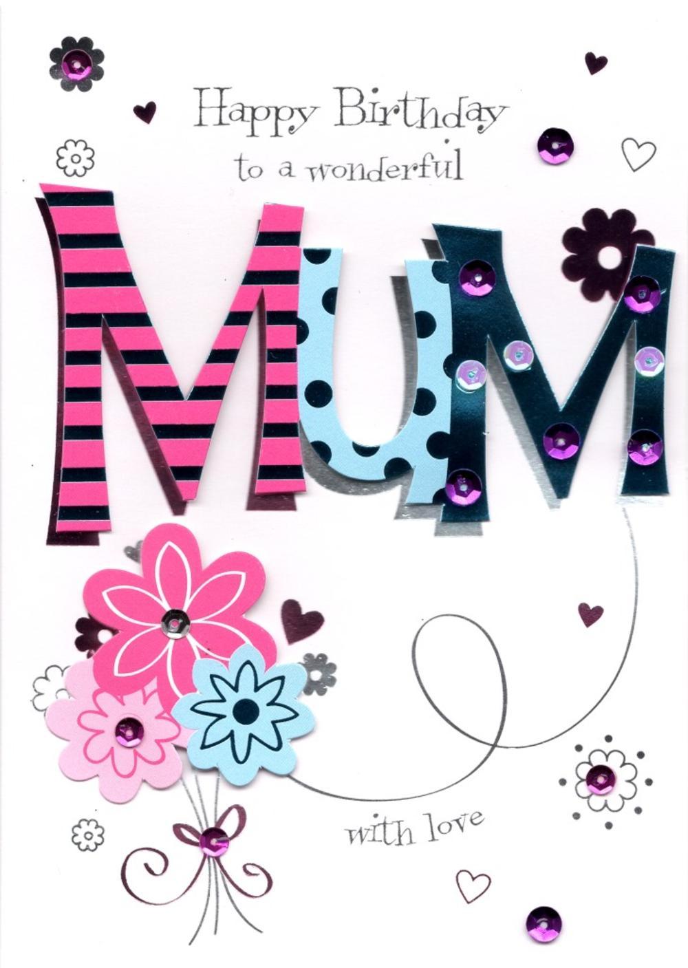 Wonderful Mum Handmade Birthday Greeting Card Cards – Mum 65th Birthday Card