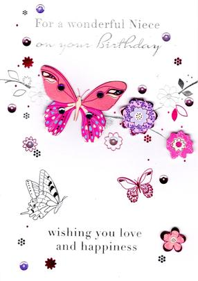 Wonderful Niece Handmade Birthday Greeting Card