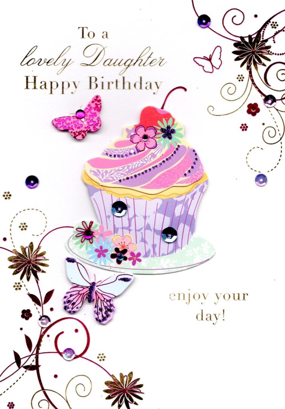 Lovely Daughter Handmade Birthday Greeting Card