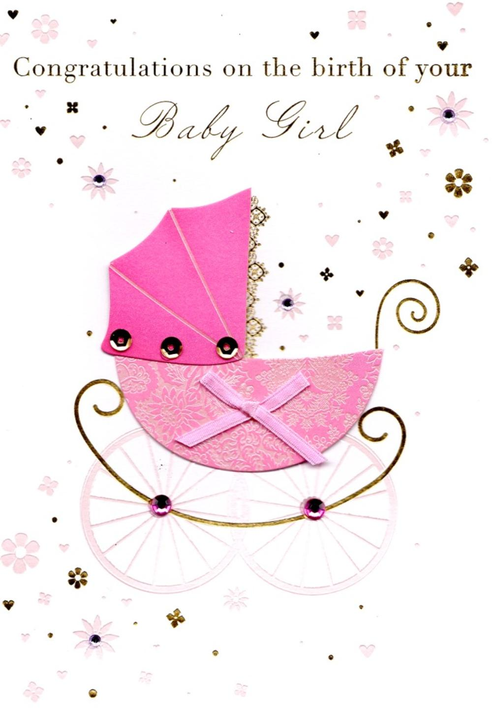 congratulations birth new baby girl greeting card