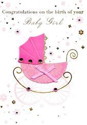 Congratulations Birth New Baby Girl Greeting Card