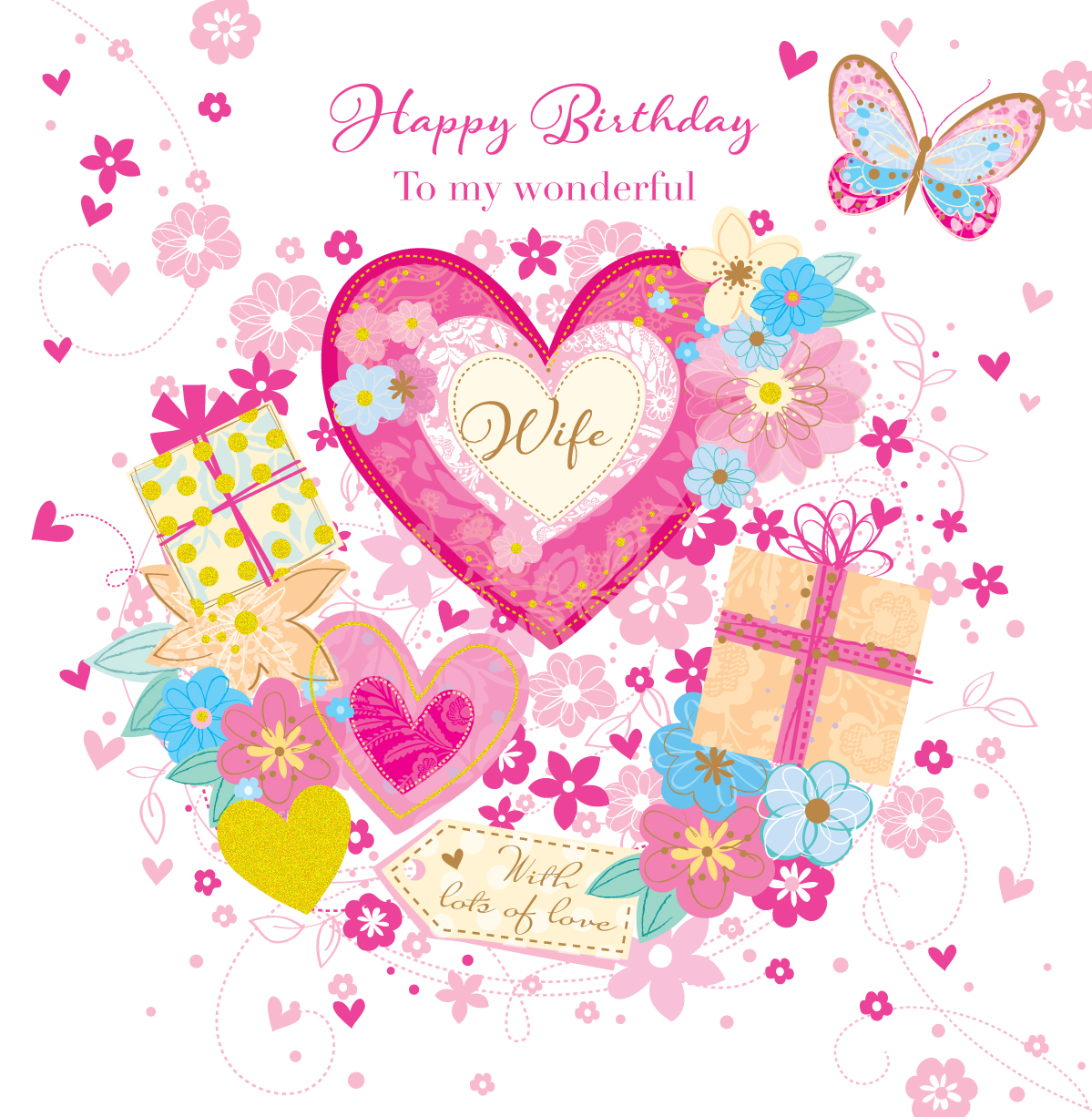 Wonderful Wife Happy Birthday Greeting Card Cards Love Kates