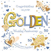 Handmade Golden 50th Wedding Anniversary Greeting Card
