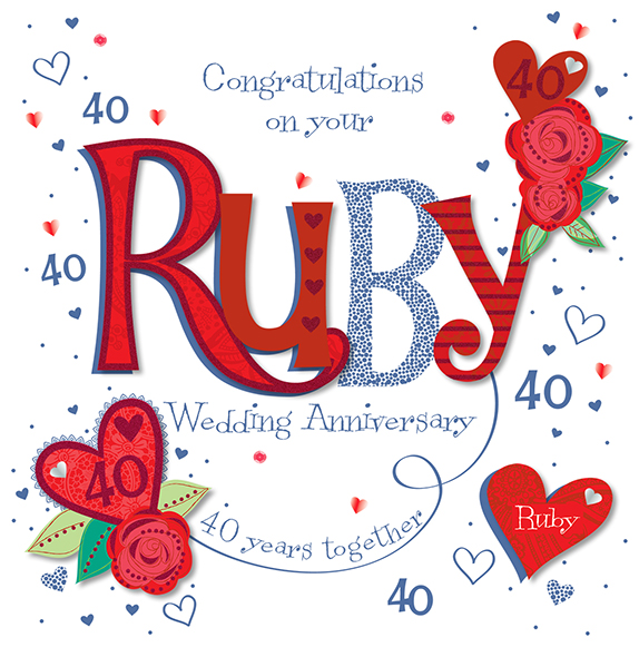 Details About Handmade Ruby 40th Wedding Anniversary Greeting Card By Talking Pictures Cards