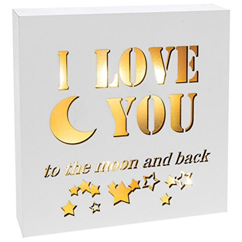 I Love You To The Moon & Back Light Up Block Art Box