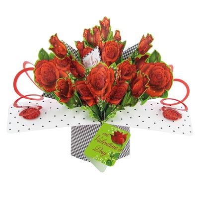 With Love On Valentine's Day Pop-Up Roses Greeting Card