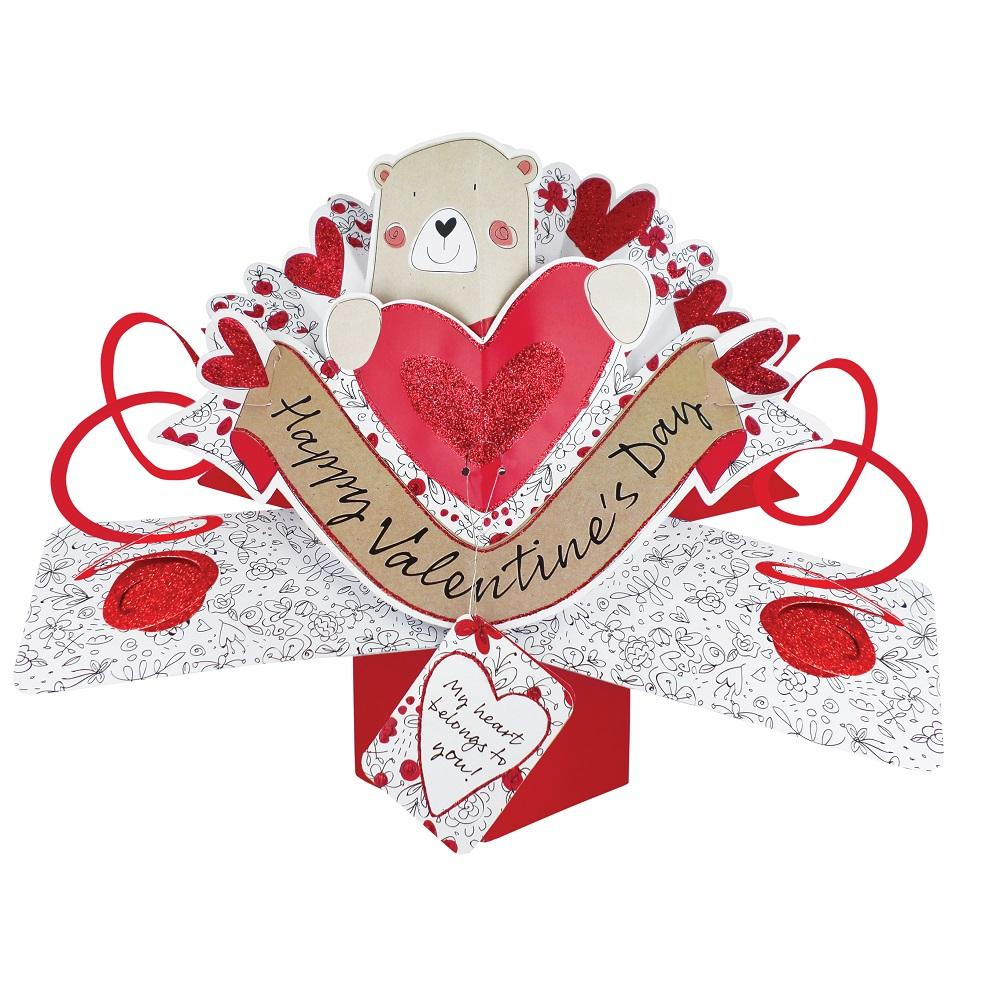 Happy Valentine's Day Pop-Up Cute Bear Greeting Card