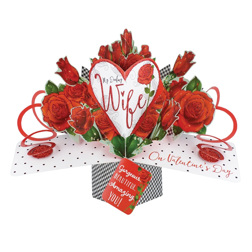 Darling Wife On Valentines Day Pop Up Roses Greeting Car
