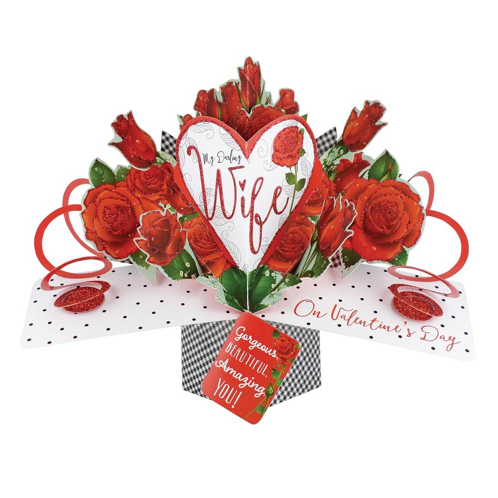 Darling Wife On Valentine's Day Pop-Up Roses Greeting Card